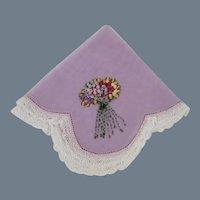 Very Special Vintage Hand Embroidered Nosegay Handkerchief