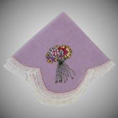 Vintage Hand Embroidered Nosegay Handkerchief