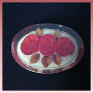 Vintage Lucite Red Rose Brooch or Pin