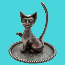 Vintage Silverplate Cat Figural Ring Holder