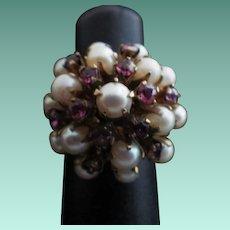 Vintage 14K Gold, Garnet & Pearl Princess Ring