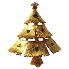 Vintage Signed JJ Christmas Tree Brooch