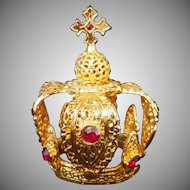 Vintage Jeweled Crown for Religious Statue or Doll