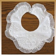 Vintage French Handmade Lace & Embroidery Christening Collar Bib