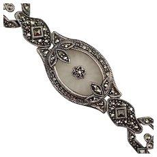 Vintage Signed Judith Jack Sterling Silver & Camphor Glass Bracelet