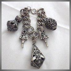 Vintage Signed Chunky Charm Etruscan Revival Bracelet