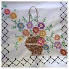 Vintage Hand Embroidered Autumn Basket Floral Linen Runner