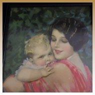 Vintage Framed Earl Christy Mother and Child Print