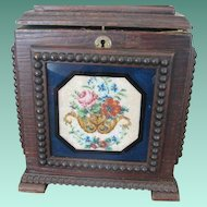 Unique Antique Victorian Wood Box with Beaded Scenes