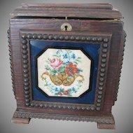 Unique Antique Victorian Wood Box with Beaded Scenes