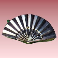 Antique Victorian Sterling Silver & Velvet Fan Pin Cushion