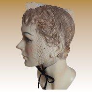 Vintage Black Net & Rhinestone Headpiece