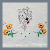 Vintage Hand Embroidered Hand Towel