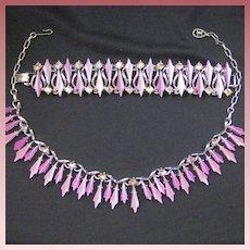 Vintage Thermoset & Rhinestone Demi Parure Necklace & Bracelet