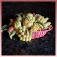 Vintage Celluloid Basket of Fruit Brooch
