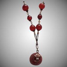 Vintage Carnelian & Copper Pendant Necklace