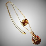 Vintage Art Nouveau Amber Glass & Brass Pendant Necklace