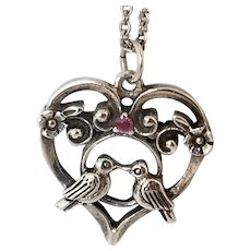 Vintage Heart and Dove Pendant Necklace