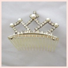 SALE! Vintage Signed Faux Pearl and Rhinestone Tiara Hair Comb