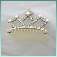 Vintage Signed Faux Pearl and Rhinestone Tiara Hair Comb