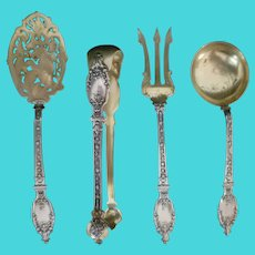 Antique French Gold Wash 950 Sterling Silver Four Piece Set