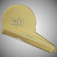 Vintage French Ivory or Celluloid Brush and Comb Set