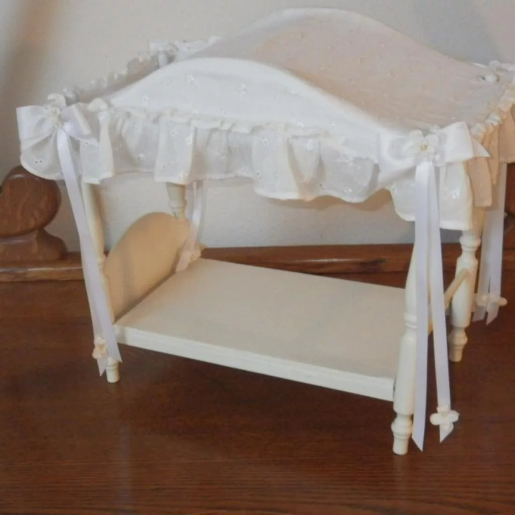 Vintage Canopy Doll Bed With Linens Blomstrom Antiques