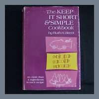 """Vintage Book, First Edition - """"The Keep it Short & Simple Cookbook"""""""