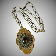 Vintage Large Brass & Glass Pendant Necklace