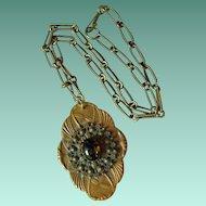 Vintage Large Brass & Glass Pendant Necklace