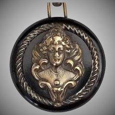 Vintage Art Nouveau Button Dangle Brooch