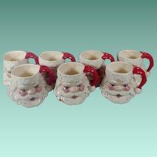 Vintage Set of Handpainted Ceramic Santa Claus Mugs