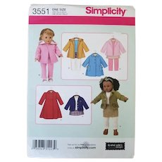"Vintage Uncut Simplicity One Size 18"" Doll Clothes Pattern"