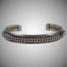 Vintage Signed Sterling Silver Navajo Cuff Bracelet