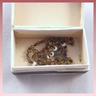 Tiny Vintage Doll Glass Bead Rosary in Original Box