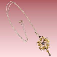 Antique Art Nouveau 10K Gold Lavaliere Pendant Necklace