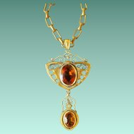 Vintage Art Nouveau Gold Plate & Amber Glass Pendant Necklace