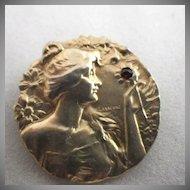 Vintage Signed Lasserre Art Nouveau 10K Gold & Garnet Brooch