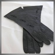 "Vintage ""Barra"" Black Leather Gloves"