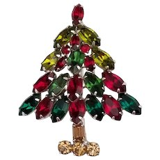 Vintage Signed Napier Christmas Tree Brooch