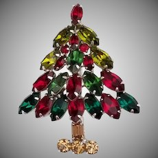 Vintage Signed Napier Christmas Tree Brooch