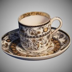 "Rare Copeland (Spode) ""Florida"" Pattern Demitasse Cup & Saucer Set"