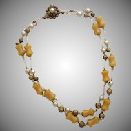 Vintage Bakelite & Glass Bead Double Strand Necklace