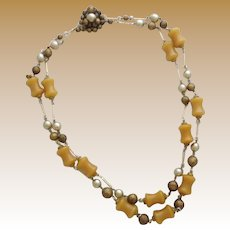 Vintage Bakelite & Glass Bead Double Strand Necklace