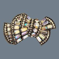 Rare Signed Hollycraft Sash Shaped Rhinestone Brooch