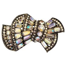 Rare Signed Hollycraft Sash Shaped Rhinestone Brooch