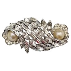 Vintage Signed Jomaz Rhinestone and Pearl Brooch