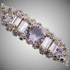 """Vintage Signed """"KRAMER OF NY"""" Color-Changing Alexandrite Rhinestone Bracelet"""