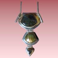 Vintage Sterling Silver & Labradorite Artisan Pendant Necklace
