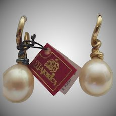 Vintage Set of Majorica Pearl Earrings in Original Box